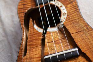 I'iwi ukulele 壊れた表板